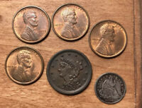 1853 BRAIDED HAIR HALF CENT UNC AND OTHER COINS