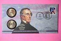 2009 P&D JOHN TYLER ONE DOLLAR COIN COVER LIMITED EDITION MINT CODE P30