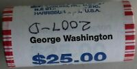 2007 D GEORGE WASHINGTON UNCIRCULATED ONE DOLLAR 25 GOLDEN COIN ROLL $1 WOW