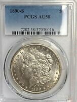1890-S MORGAN $1 PCGS AU58 WHITE BEAUTY, SCRATCH-FREE HOLDER CHN