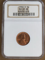 1933-D LINCOLN CENT NGC MINT STATE 65RD 32010