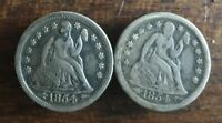 1854 & 1854-O BOTH W/ARROWS AT DATE SILVER SEATED DIMES