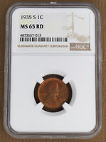 1935-S LINCOLN CENT NGC MINT STATE 65RD
