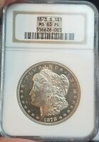 1878-S MORGAN SILVER DOLLAR - NGC MINT STATE 63 PL - BRIGHT WHITE MIRROR SURFACES - DMPL?