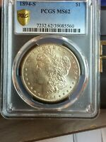 1894-S MORGAN PCGS MINT STATE 62 GOLD SHIELD VAM 7 DOUBLED PROFILE KEY DATE LOW MINT COIN