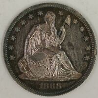 1868 PROOF SEATED HALF DOLLAR.  CHOICE PROOF DETAILS. RAW2001/HSN
