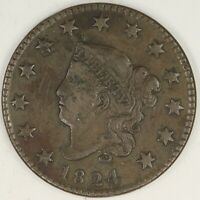 1824 CORONET HEAD LARGE CENT.  CHOICE VF. RAW2014/RQH