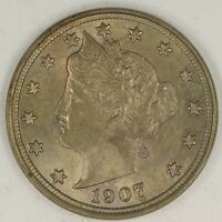 1907 LIBERTY NICKEL. UNCIRCULATED TONED. RAW2012LL/EB