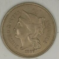 1867 3 NICKEL.  CHOICE UNCIRCULATED. RAW1993/BSQ