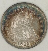 1839 P SEATED LIBERTY HALF DIME. LY CHOICE AU PQ TONED. RAW1981/BAQ