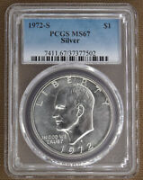 1972-S SILVER UNCIRCULATED EISENHOWER DOLLAR PCGS MINT STATE 67 77502