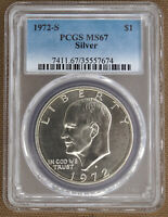 1972-S SILVER UNCIRCULATED EISENHOWER DOLLAR PCGS MINT STATE 67 57674