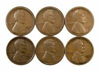 LOT OF 6 1924 S 1C LINCOLN WHEAT CENT PENNIES F / F LIGHT BLEMISHES 151371