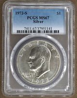 1972-S SILVER UNCIRCULATED EISENHOWER DOLLAR PCGS MINT STATE 67 51141