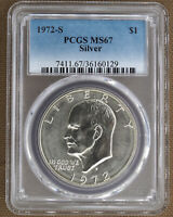 1972-S SILVER UNCIRCULATED EISENHOWER DOLLAR PCGS MINT STATE 67 60129