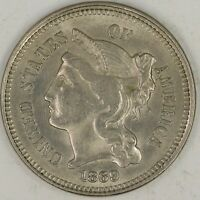 1869 3 NICKEL. CHOICE UNCIRCULATED RAW1961/JEB