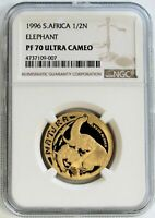 1996 GOLD SOUTH AFRICA NGC PROOF 70 UC 1/2OZ NATURA BIG FIVE ELEPHANT