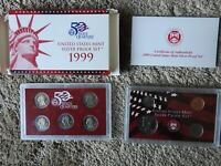 DOUBLE FLAP BOX 1999 US SILVER PROOF SET WITH BOX & COA