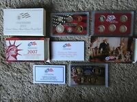 2007 2011 US SILVER PROOF SETS WITH BOXES & COAS  FIVE TOTAL