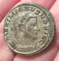 ABOUT EF & FULLY SILVERED BILLON  28MM 11.9G GALERIUS AS CAESAR TREVERI MINT