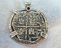 GENUINE 4 REALES SILVER SPANISH SHIPWRECK TREASURE COB COIN WITH RUBY