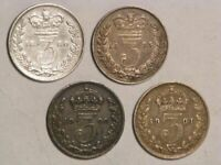 GREAT BRITAIN 1880 1901 3 PENCE VICTORIA SILVER VF   4 COINS