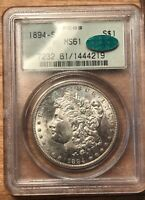 1894-S MORGAN SILVER DOLLAR PCGS MINT STATE 61 CAC OLD GREEN HOLDER