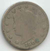 USA 1904 FIVE CENT AMERICAN LIBERTY NICKEL 5C EXACT COIN SHOWN