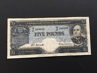 AUSTRALIA 5  POUNDS  COOMBS/WILSON 1954 AVF NICE BANKNOTE