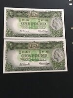 1 POUND  COOMBS/WILSON 1961 X 2 CONSECUTIVE BEAUTIFUL BANKNO