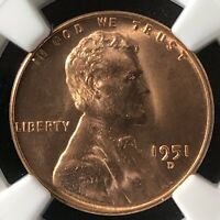 1951-D 1C RD LINCOLN WHEAT CENT NGC MINT STATE 65RD     3585082-015