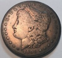 1901-S MORGAN $1 A HIGH RARITY WITH FULL RIMS MOSTLY AVERAGE CIRCULATED