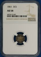 1861 THREE CENT SILVER. NGC AU58 PQ TONED. ET2129/BLN