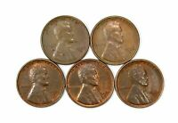 LOT OF 5 1936 S 1C LINCOLN WHEAT CENT PENNIES AU / UNC RED BROWN 137948