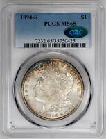 1894-S $1 MORGAN DOLLAR - PCGS MINT STATE 65 CAC APPROVED
