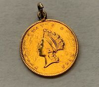 1854 UNITED STATES LIBERTY HEAD TYPE 2 GOLD DOLLAR COIN 90
