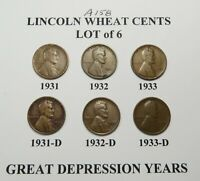 1931 PD 1932 PD & 1933 PD LINCOLN WHEAT CENT SET6 COINS COMB.SHIPLOT A158
