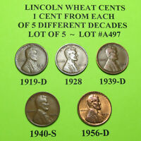 1919-D 1928 39-D 40-S 56-D  5 LINCOLN WHEAT CENTS FROM 5 DIFF. DECADES LOT A497