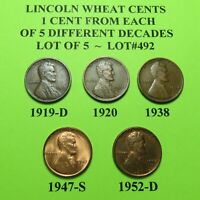1919-D 1920 1938 47-S 52-D  5 LINCOLN WHEAT CENTS FROM 5 DIFF. DECADES LOT A492