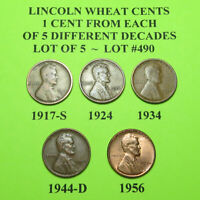 1917-S 1924 1934 1944-D 56  5 LINCOLN WHEAT CENTS FROM 5 DIFF. DECADES LOT A490
