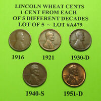 1916 1921 30-D 40-S 1951-D  5 LINCOLN WHEAT CENTS FROM 5 DIFF. DECADES LOT A479