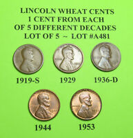 1919-S 1929 1936-D 1944 53  5 LINCOLN WHEAT CENTS FROM 5 DIFF. DECADES LOT A481