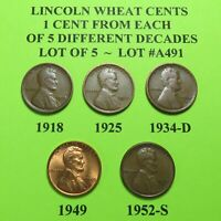 1918 1925 1934-D 1949 52-S  5 LINCOLN WHEAT CENTS FROM 5 DIFF. DECADES LOT A491