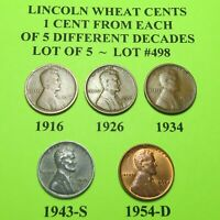 1916 1926 1934 1943-S 54-D  5 LINCOLN WHEAT CENTS FROM 5 DIFF. DECADES LOT A498
