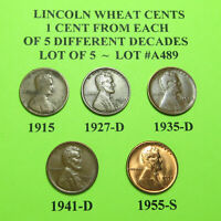 1915 27-D 1935-D 41-D 55-S  5 LINCOLN WHEAT CENTS FROM 5 DIFF. DECADES LOT A489