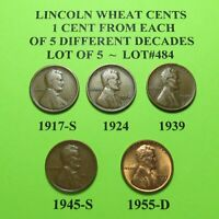 1917-S 1924 1939 45-S 55-D  5 LINCOLN WHEAT CENTS FROM 5 DIFF. DECADES LOT A484