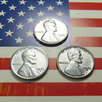1943 1943-D 1943-S LINCOLN STEEL WHEAT CENT SET OF 3 WW2 CENTS IN CASE  LOT A346