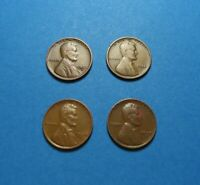 1932-D 1934 1938 1939-S LINCOLN WHEAT CENTS- LOT OF 4 COINS  COMB SHIP LOT 1068