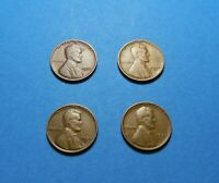 1932 1935-S 1937-D 1937-S LINCOLN WHEAT CENTS- LOT OF 4 COINS COMB SHIP LOT 1069