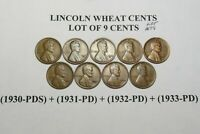 1930 PDS 1931 PD 1932 PD & 1933 PD LINCOLN WHEAT CENT SET9 COINS LOT 1079
